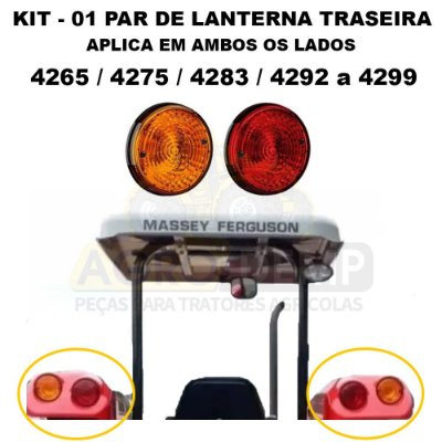 KIT - PAR DE LANTERNA TRASEIRA (01 RUBI E 01 AMBAR) MASSEY FERGUSON - 4265 / 4275 / 4283 / 4292 / 4297 / 4298 / 4299 - 7140 / 7150 / 7170 / 7180 / 7350 / 7370 / 7390 / 7415 - 6233239 | 6233240