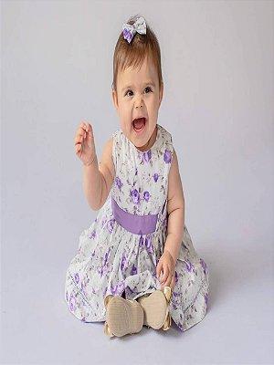 Vestido Bebê Florido Lilás