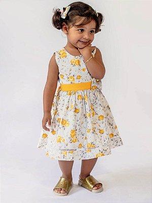 Vestido Bebê Florido Amarelo