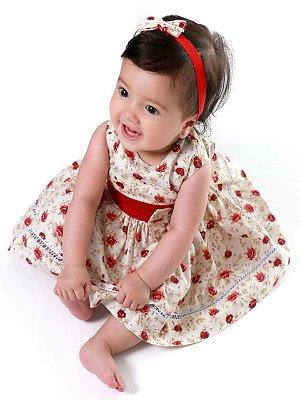 Vestido Bebê Florido com Laço Vermelho