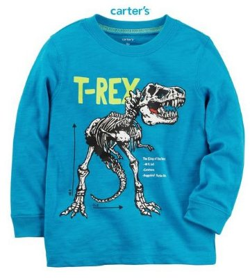 Camisa Carter's Manga Longa - T-Rex Jersey Tee