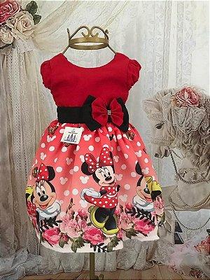 Vestido de Festa Infantil - Minnie Vermelha - Super Luxo