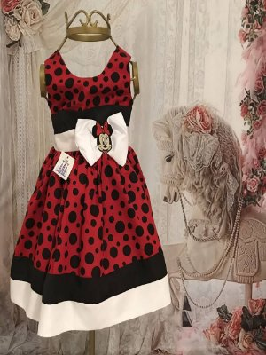 Vestido de Festa Infantil - Minnie Vermelha - Bordada- Luxo