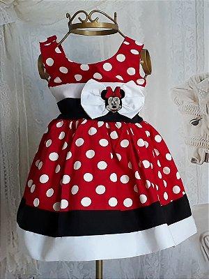 Vestido de Festa Infantil - Minnie Vermelha - Luxo