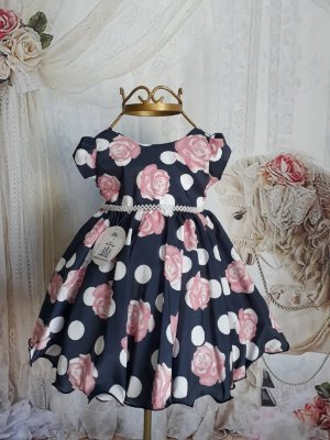 Vestido de Festa Infantil - Azul Florido - Super Luxo