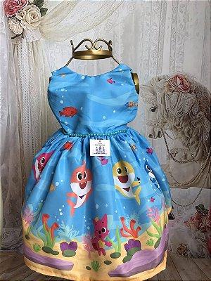 Vestido de Festa Infantil - Baby Shark Azul - Luxo