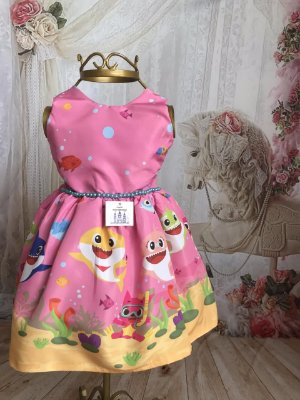 Vestido de Festa Infantil - Baby Shark Rosa - Luxo