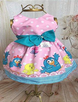 Vestido de Festa Infantil - Galinha Pintadinha - Luxo