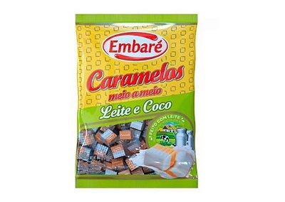 Bala Caramelos de leite meio a meio com leite e coco 660g Embaré