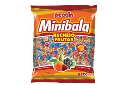 Minibala sortida recheio de frutas (Pera, Morango, Uva, Tangerina) Peccin 540g