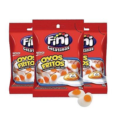 Bala de Gelatina Fini Ovos Fritos Sabor Tutti Frutti Contendo 3 Pacotes de 80G cada