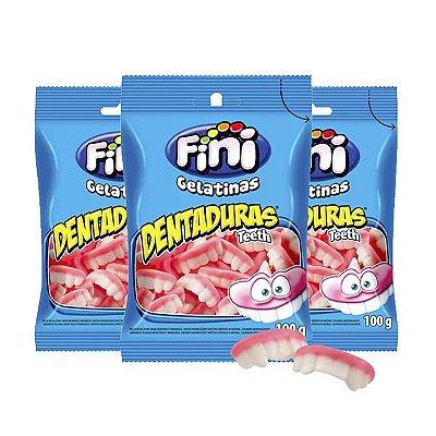 Bala de Gelatina Fini Dentaduras Contendo 3 Pacotes de 80g cada