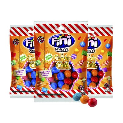 Chicle Fini Ácido Candy Crush Contendo 3 Pacotes de 80g cada