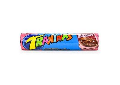 Biscoito de Chocolate com Recheio de Morango Trakinas 136g