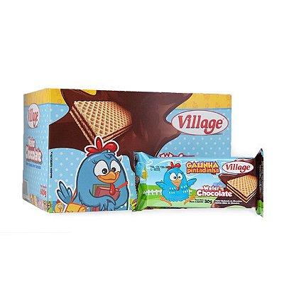 BISCOITO WAFER CHOCOLATE GALINHA PINTADINHA VILLAGE 30G CONTENDO 20 PACOTES