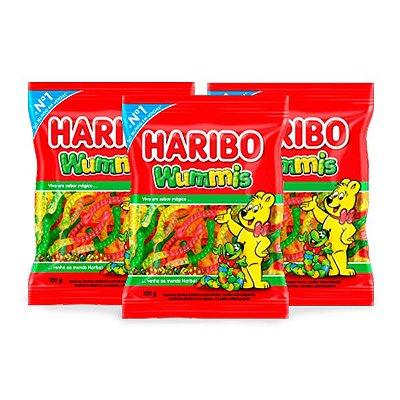 Bala Gelatina Haribo Wummis Minhoca contendo 3 pacotes de 100g