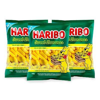 Bala Gelatina Haribo Sweet Bananas contendo 3 pacotes de 100g