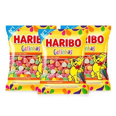 Bala Gelatina Haribo Gotinhas contendo 3 pacotes de 100g