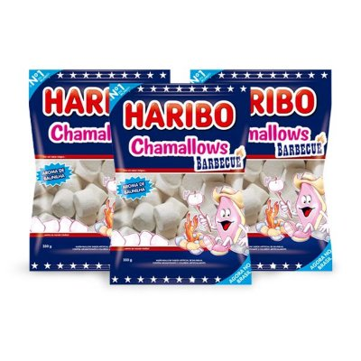 Marshmallow Haribo Chamallows Barbecue Churrasco contendo 3 pacotes de 80g