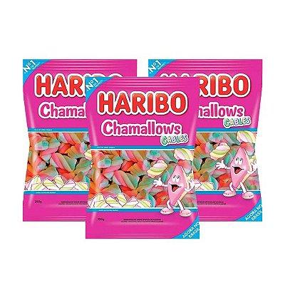Marshmallow Haribo Chamallows Torção Cables Colorido contendo 3 pacotes de 80g