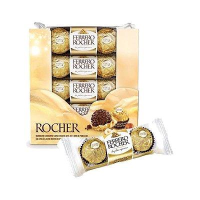 Bombom Ferrero Rocher contendo 16 conjuntos com 3 bombons