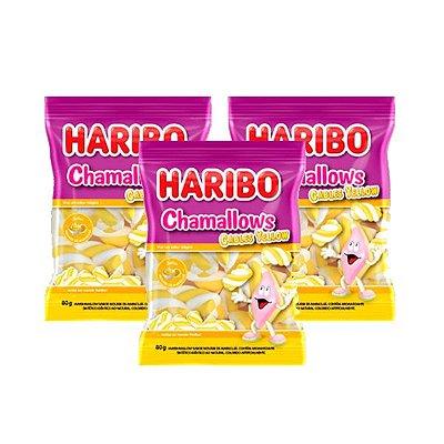 Marshmallow Haribo Chamallows Torção Cables Yellow contendo 3 pacotes de 80g