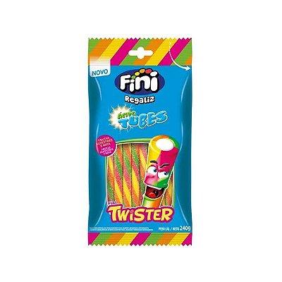 Bala de Gelatina Fini Regaliz Ácido Tubes Twister 80g