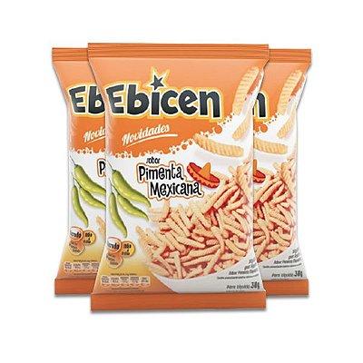 Salgadinho Ebicen Pimenta Mexicana contendo 3 pacotes de 30g cada