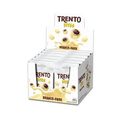 Trento Bites Branco-Dark Peccin contendo 12 pacotes de 40g cada