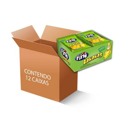 Bala Fini Bananas contendo 12 caixas