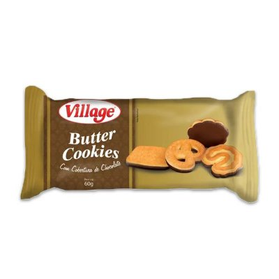 Butter Cookies com Cobertura de Chocolate Village 60g