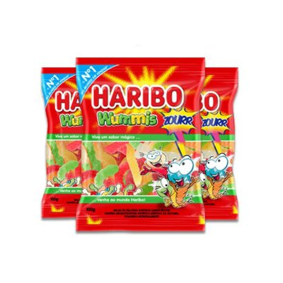 Bala de Gelatina Haribo Wummis Zourr (Minhoca ácida) contendo 3 pacotes de 100g cada