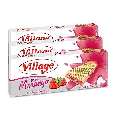Biscoito Wafer Village Morango 120g contendo 3 unidades