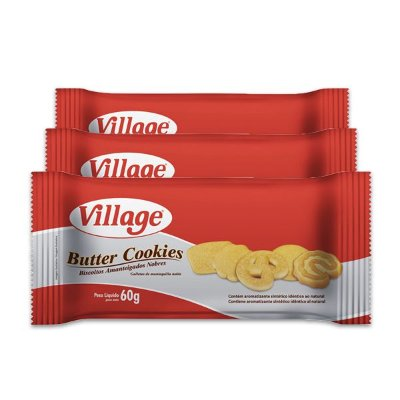 Butter Cookies Village 60g contendo 3 unidades