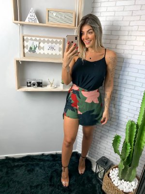 Short saia rosa santa FLOR AZUL