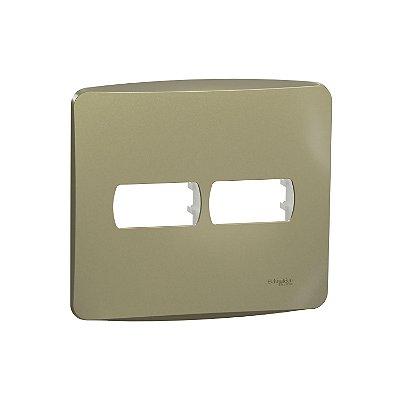 Placa 4X4 2 Postos com Suporte Miluz Dourado - S3B77423 - Schneider Electric