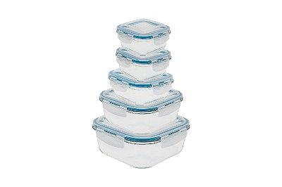 Conjunto Pote de Vidro Quadrado 5 Peças 320ml, 520ml, 800ml, 1200ml e 2200ml com Tampa - Incolor com Azul - Oikos