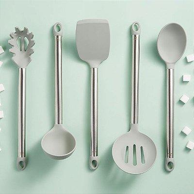 Conjunto Utensílios de Cozinha 5 Peças Trendy Aço Inox e Silicone - Cinza - Hercules