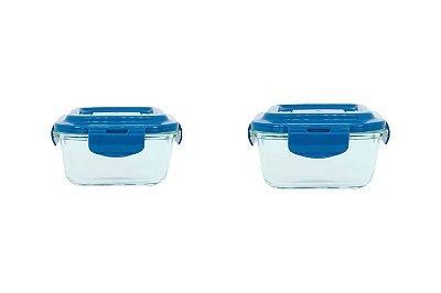 Conjunto Pote de Vidro Quadrado 320ml e 520ml com Tampa - Incolor e Azul - Oikos