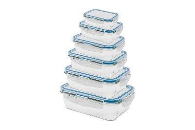 Conjunto Pote de Vidro Retangular com 6 Peças 160ml, 330ml, 840ml, 1040ml, 1520ml e 2260ml com Tampa - Incolor com Azul - Oikos
