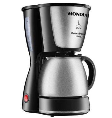Cafeteira Elétrica Mondial Dolce Arome 15 Xícaras 550W C34JI Preto/Inox - 127V
