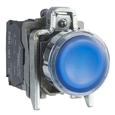 Botão 22mm Metálico Luminoso Led Azul 24VCA CC 1NA 1NF - XB4BW36B5 - Schneider Electric