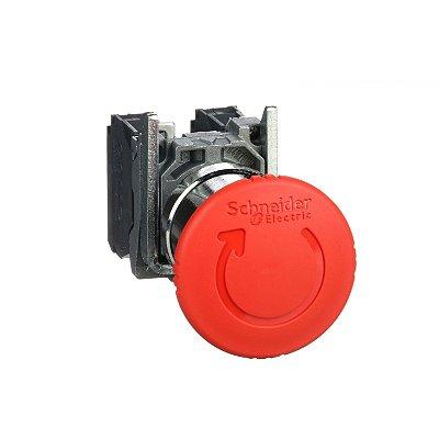 Botão 22mm Metálico Soco Ação Brusca Girar Destr D40 1NA NF Vermelho - XB4BS8445 Schneider Electric