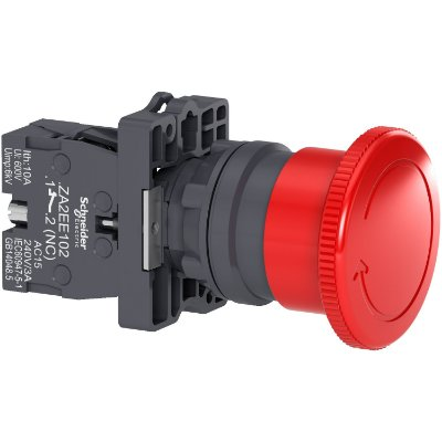 Botão 22mm Plástico Soco Emergência D40mm Girar Vermelho 1NF - XA2ES542 - Schneider Electric