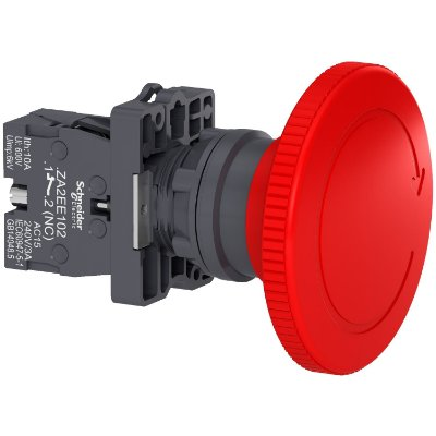 Botao 22mm Plástico Soco Emergência D60mm Girar Vermelho 1NF - XA2ES642 Schneider Electric