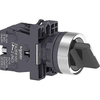 Comutador 22mm Plástico Manopla Curta 3 Posições Fixas 2NA - XA2ED33 Schneider Electric