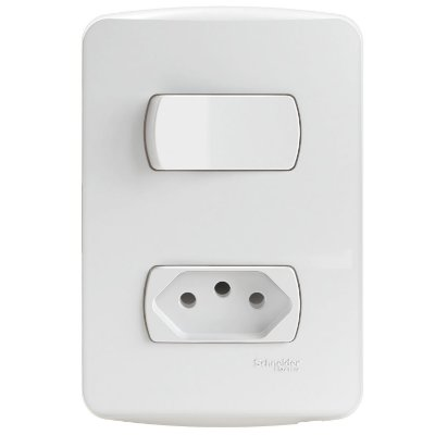 Conjunto 1 Interruptor Paralelo + 1 Tomada 2P+T Miluz 10A 250V Branco - S3B69040 - Schneider Electric