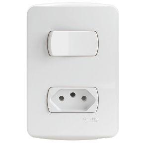 Conjunto 1 Interruptor Simples + 1 Tomada 2P+T Miluz 10A 250V PL/BR - S3B69030 Schneider Electric