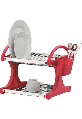 Escorredor de Pratos Brinox Capacidade 12 - Inox e Vermelho