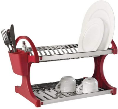 Escorredor de Pratos Brinox Capacidade 16 - Inox e Vermelho